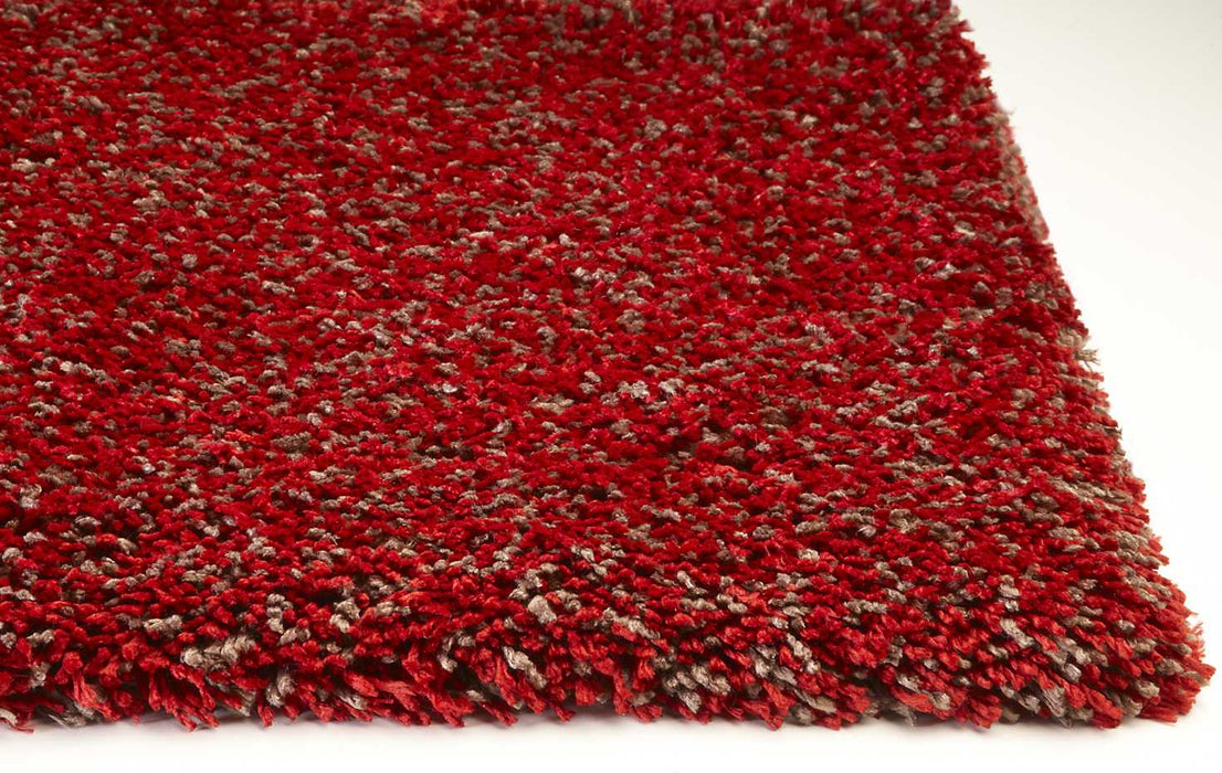 "HomeRoots 27"" X 45"" Polyester Red Heather Area Rug"