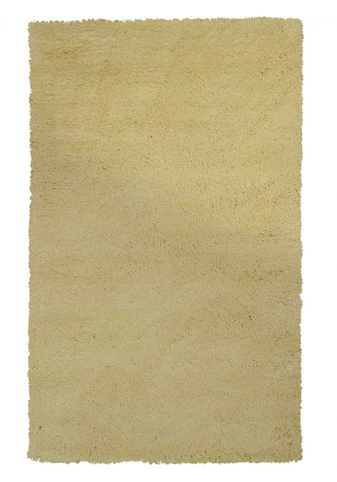 "HomeRoots 27"" X 45"" Polyester Canary Yellow Area Rug"