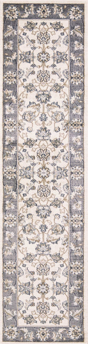 "HomeRoots 2' x 7'7"" Runner Polypropylene Ivory/Grey Area Rug"