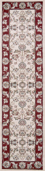 "HomeRoots 2' x 7'7"" Runner Polypropylene Ivory/Red Area Rug"