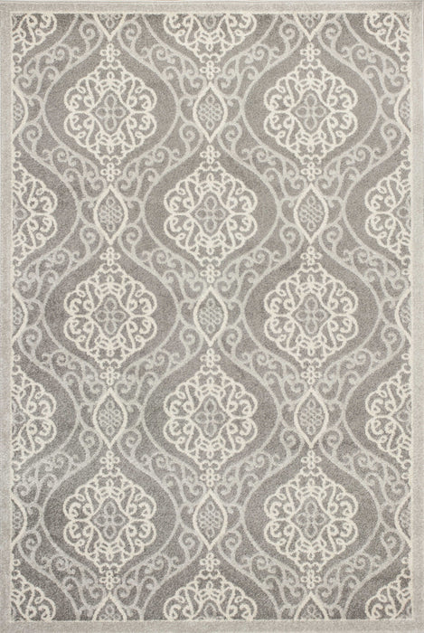 "HomeRoots 3'3"" x 4'11"" UV-treated Polypropylene Silver Area Rug"
