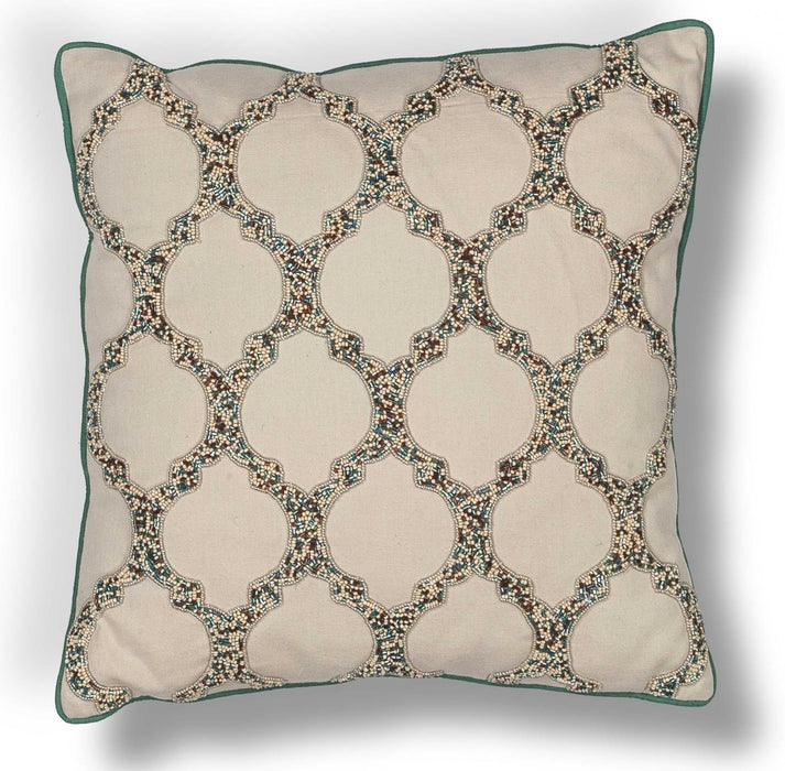 "HomeRoots 18"" x 18"" Cotton Beige Pillow"