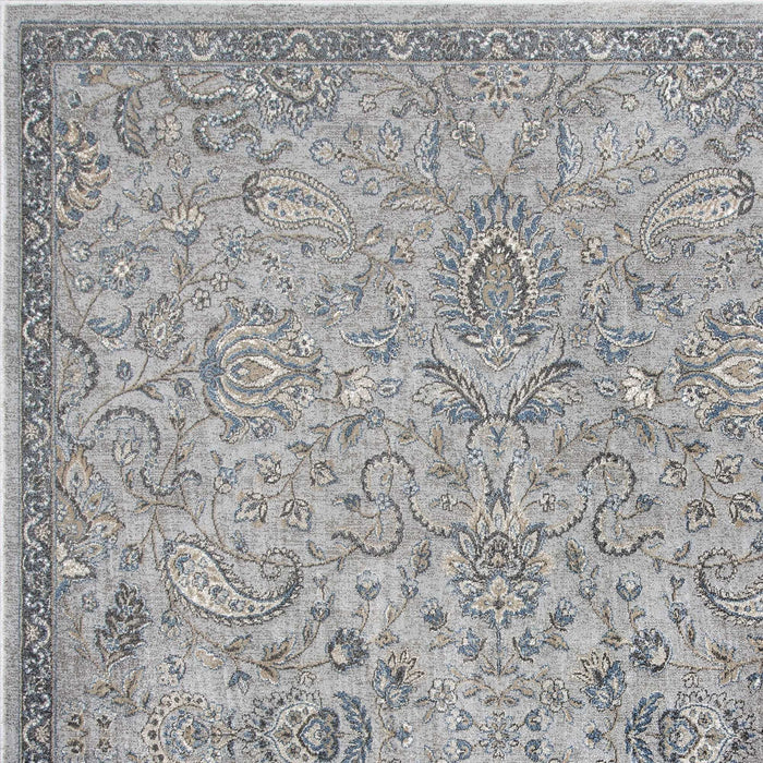 "HomeRoots 2'2"" x 3'7"" Viscose Silver/Blue Area Rug"