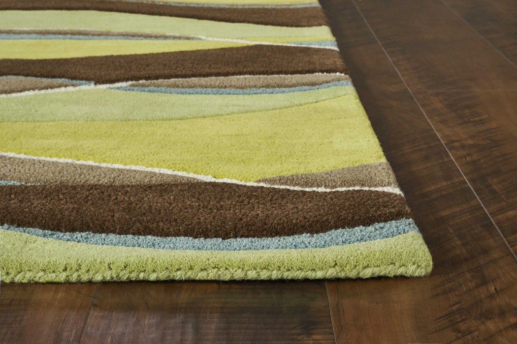 "HomeRoots 27"" X 45"" Wool Lime/Mocha Area Rug"