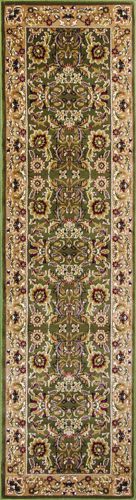 "HomeRoots 2'2"" x 7'11"" Runner Polypropylene Green/Taupe Area Rug"