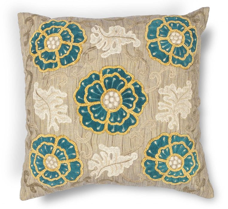 "HomeRoots 18"" x 18"" Polyester Taupe-Teal Pillow"