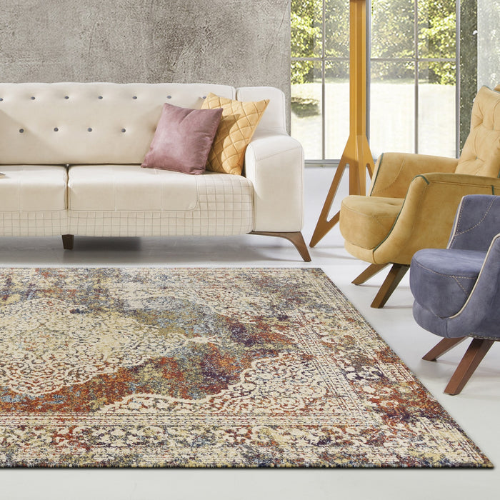"HomeRoots 3'3""X 4'11"" Polypropylene Multi Area Rug"