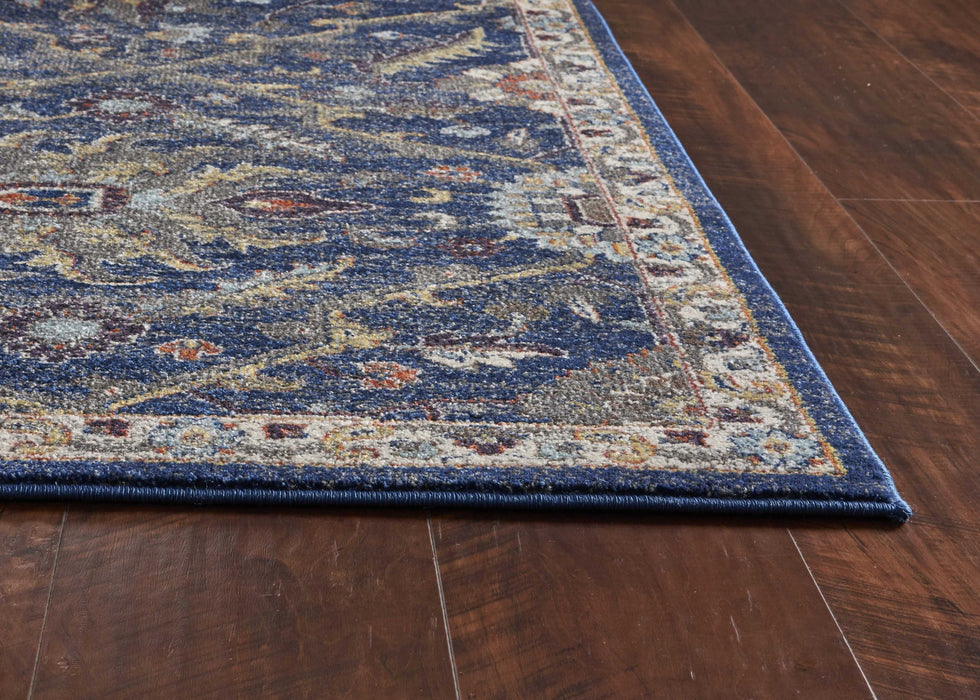 "HomeRoots 3'3""X 4'11"" Polypropylene Royal Blue Area Rug"