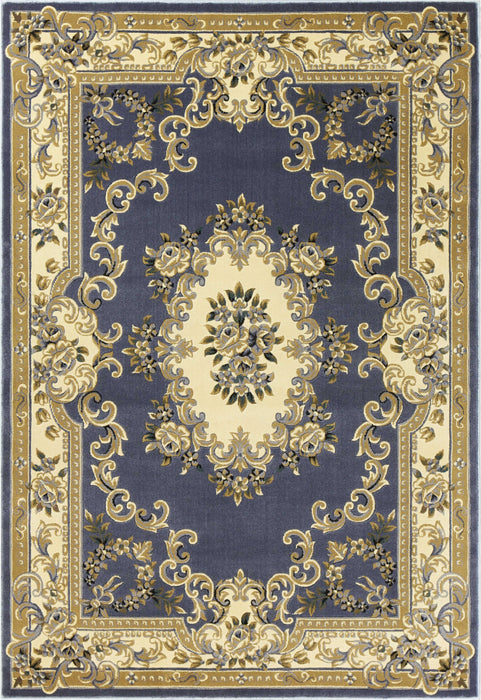 "HomeRoots 3'3"" x 4'11"" Polypropylene Blue Area Rug"