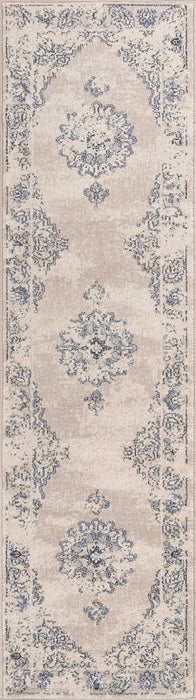 "HomeRoots 2'2"" x 7'10"" Runner Polypropylene Sky Blue Area Rug"