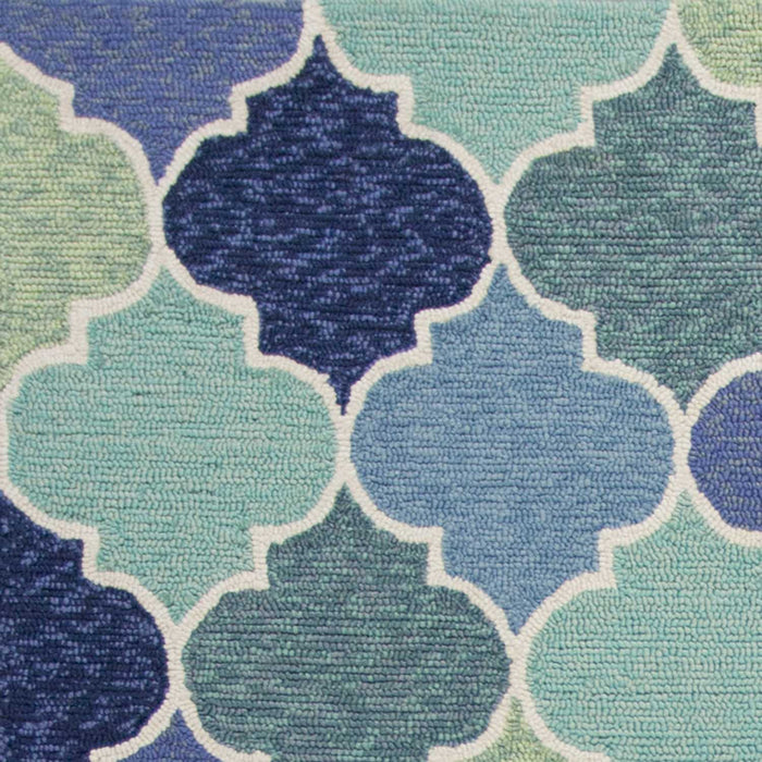 "HomeRoots 3'3"" x 5'3"" UV-treated Polypropylene Blue Area Rug"