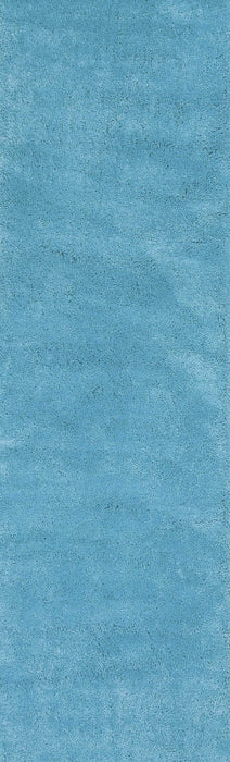 "HomeRoots 2'3"" x 7'6"" Runner Polyester Highlighter Blue Area Rug"