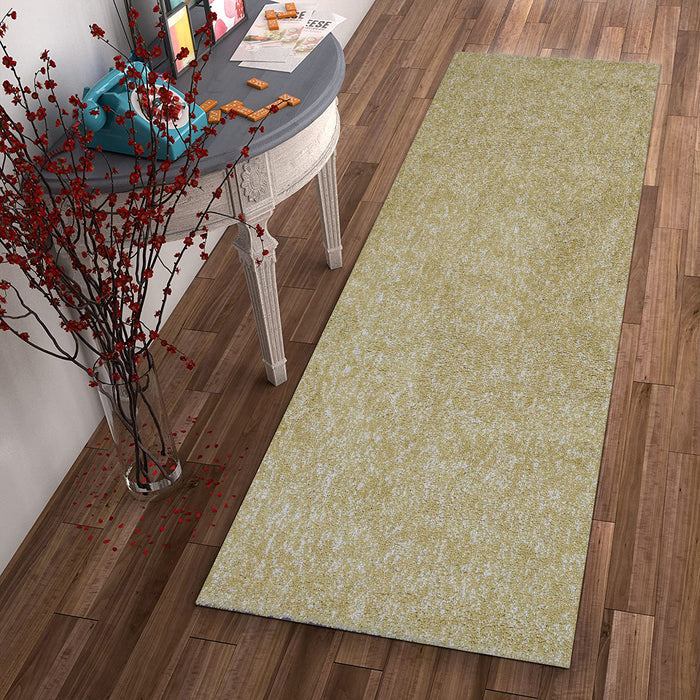 "HomeRoots 2'3"" x 7'6"" Runner Polyester Yellow Heather Area Rug"