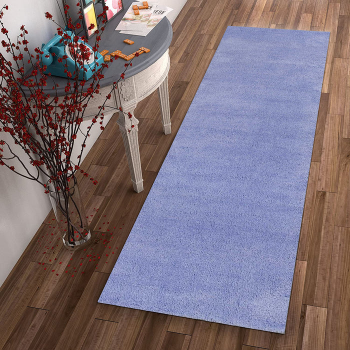 "HomeRoots 2'3"" x 7'6"" Runner Polyester Purple Area Rug"