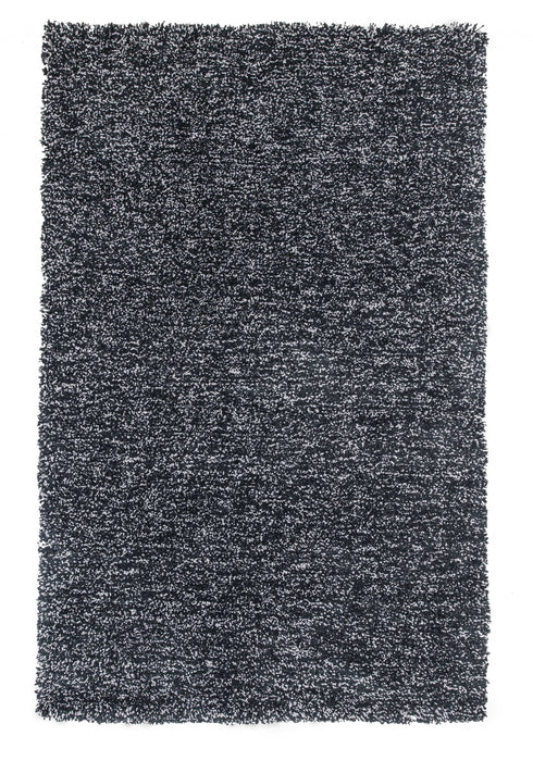 "HomeRoots 3'3"" x 5'3"" Polyester Black Heather Area Rug"
