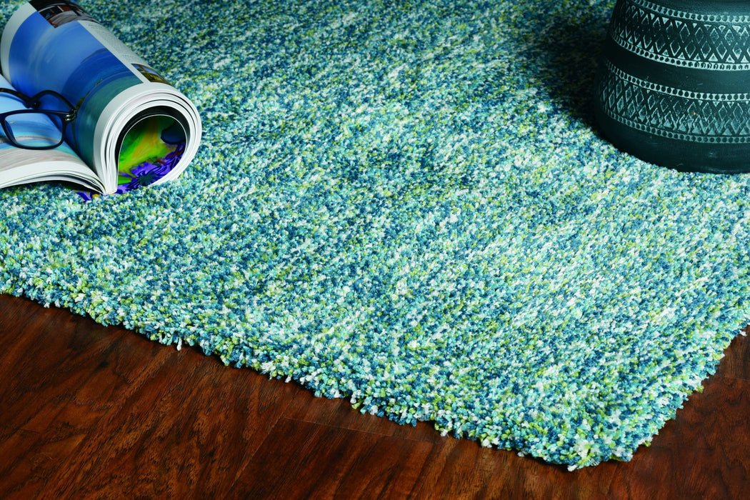 "HomeRoots 3'3"" x 5'3"" Polyester Seafoam Heather Area Rug"