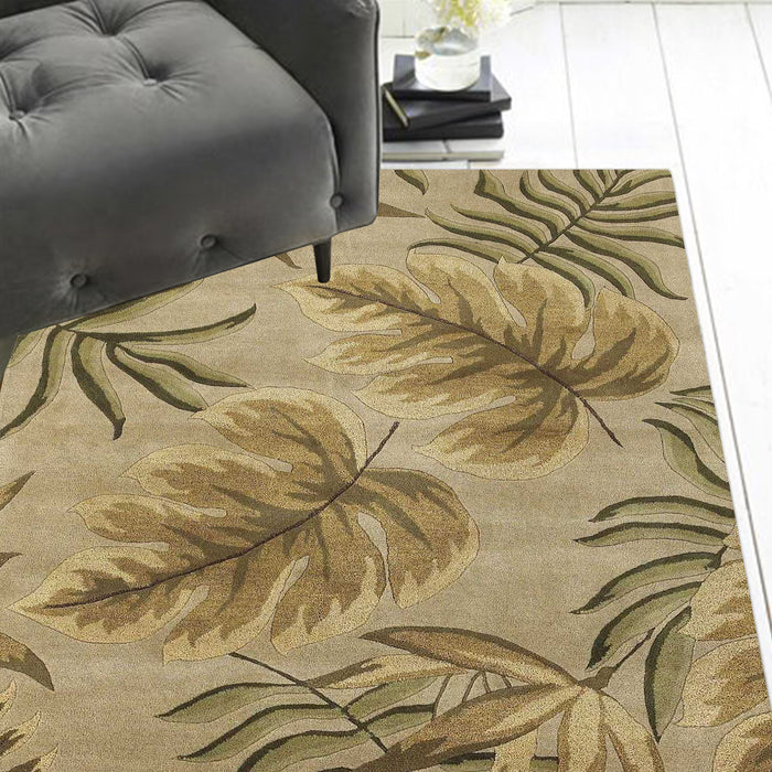 "HomeRoots 30"" X 50"" Wool Sand Area Rug"