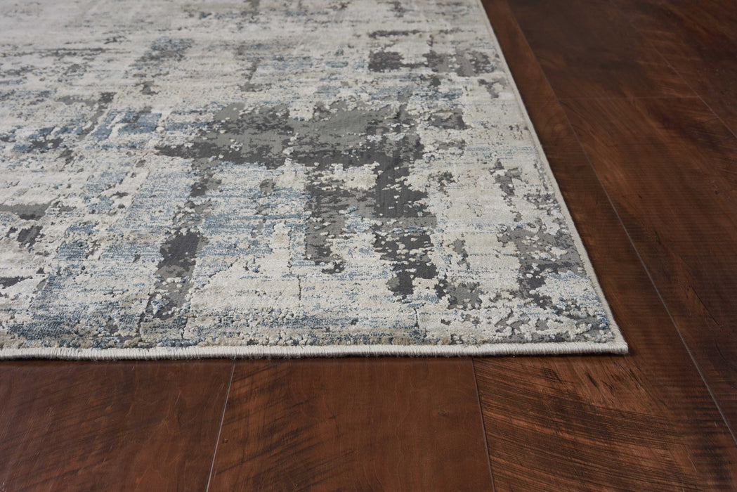 "HomeRoots 3'3"" x 4'11"" Polyester Ivory/Teal Area Rug"