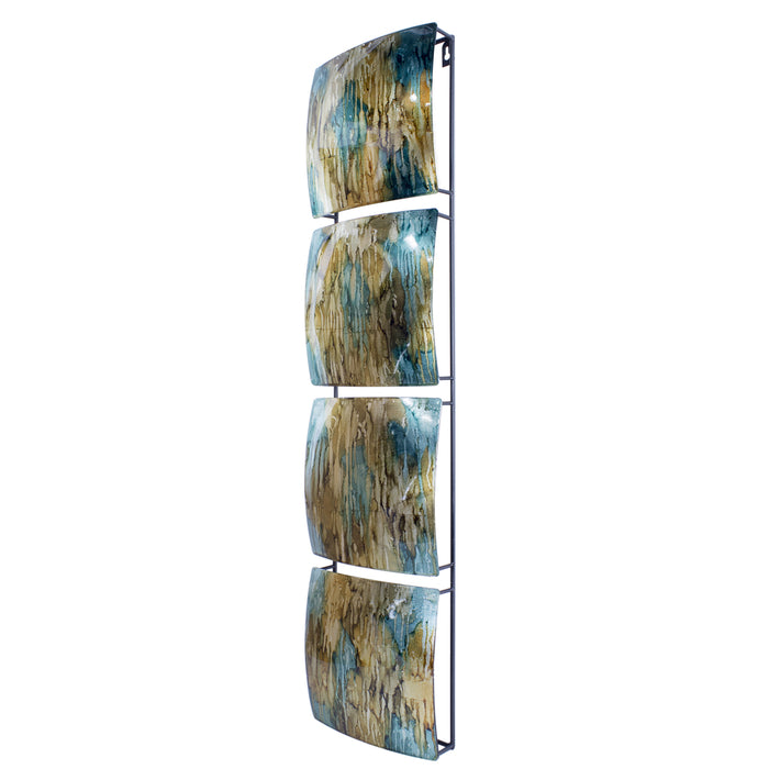 "HomeRoots 8"" X 2'.75"" X 32"" Turquoise, Copper and Bronze Metal Vertical Panel Wall Decor"