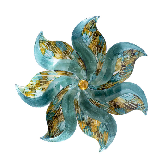 "HomeRoots 23'.25"" X 2"" X 23'.25"" Turquoise, Copper and Bronze Metal Medium Flower Wall Décor"