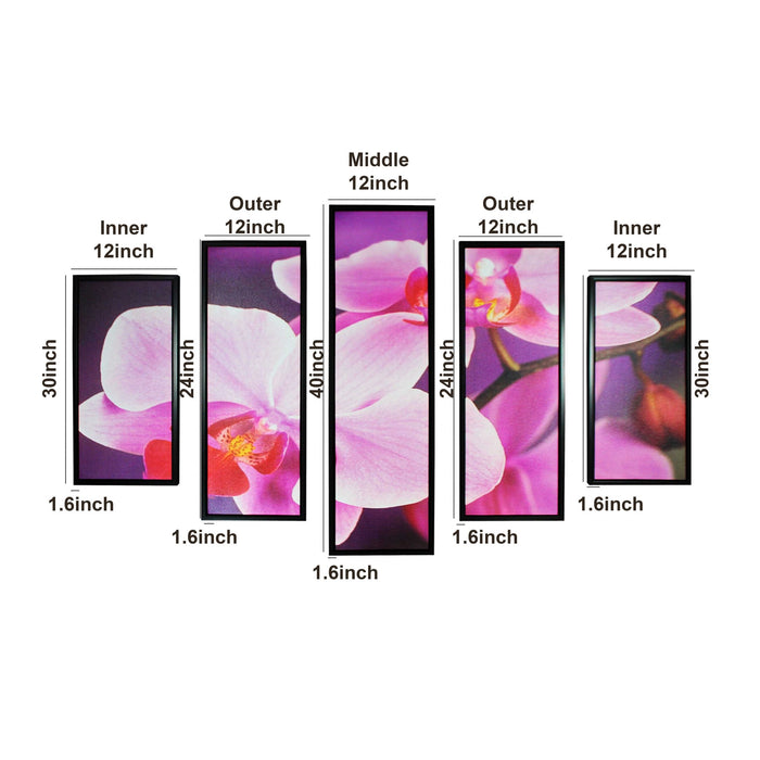 HomeRoots 5 Piece Contemporary Floral Print Wooden Wall Decor,Pink and Black