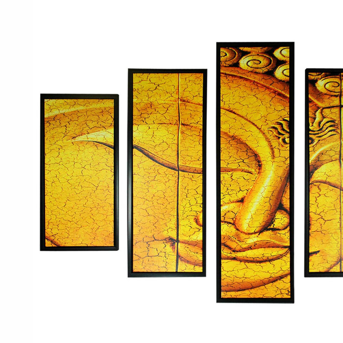 HomeRoots 5 Piece Wood Wall Decor with Sleeping Buddha Print, Yellow and Black