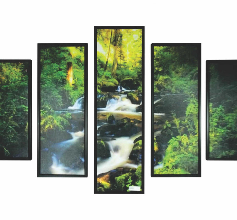 HomeRoots 5 Piece Wooden Wall Decor with Brook in a Forest Imprint, Multicolor