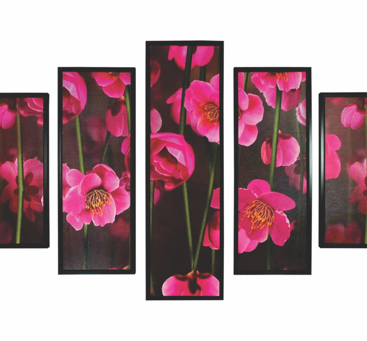 HomeRoots 5 Piece Wooden Wall Decor with Floral Print, Pink and Black
