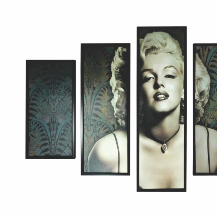 HomeRoots 5 Piece Wooden Wall Decor with Marilyn Monroe Portrait,Black and White