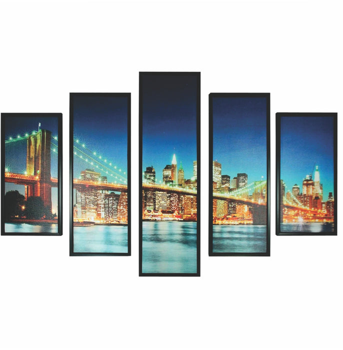 HomeRoots 5 Piece Wooden Wall Decor with New York City Bridge, Multicolor
