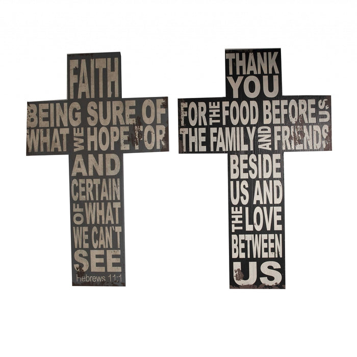 HomeRoots Wood Faith Cross Wall Decor with Typography, Black and White, Set of 2