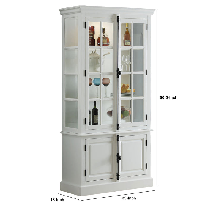 HomeRoots Office Wood and Glass Two Door Curio with 4 Shelves and Bottom Storage, White