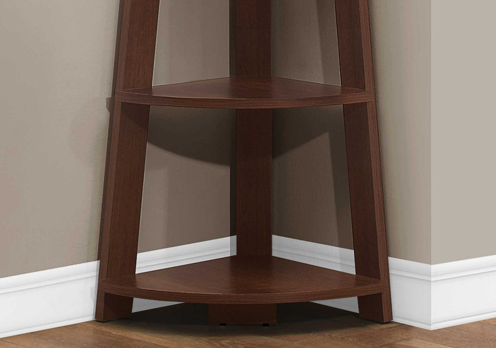 "HomeRoots Office 15'.5"" x 22'.5"" x 71'.25"" Cherry, Bookcase - Corner Accent Shelf"
