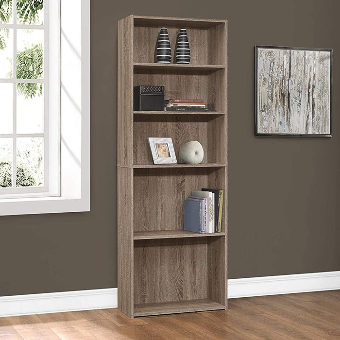 "HomeRoots Office 11'.75"" x 24'.75"" x 71'.25"" Dark Taupe, 5 Shelves - Bookcase"