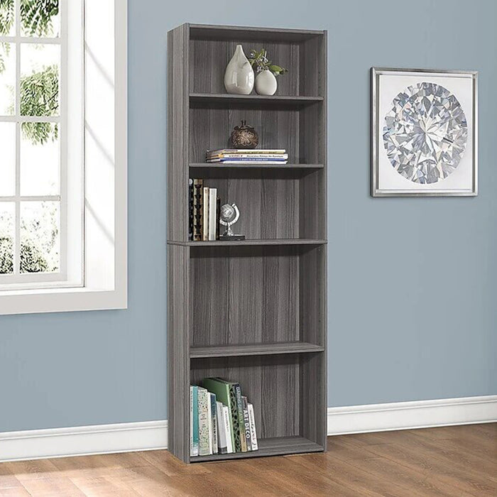 "HomeRoots Office 11'.75"" x 24'.75"" x 71'.25"" Grey, 5 Shelves - Bookcase"