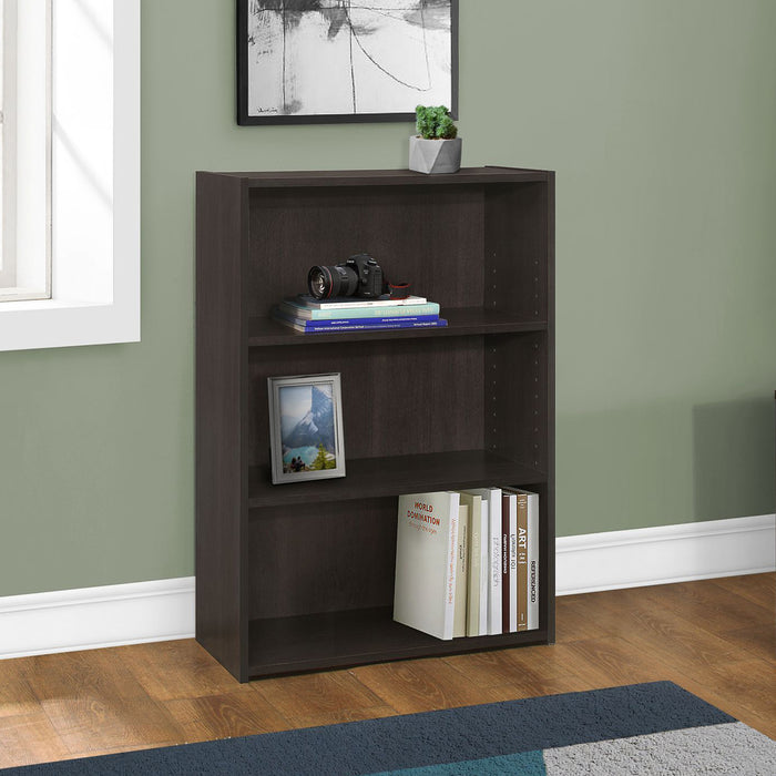 "HomeRoots Office 11'.75"" x 24'.75"" x 35'.5"" Cappuccino, 3 Shelves - Bookcase"