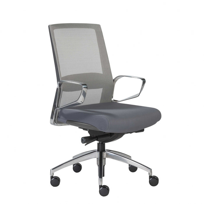 "HomeRoots Office 25.99"" X 24.81"" X 42.92"" Gray Mesh Back Office Chair with Polished Aluminum Base"