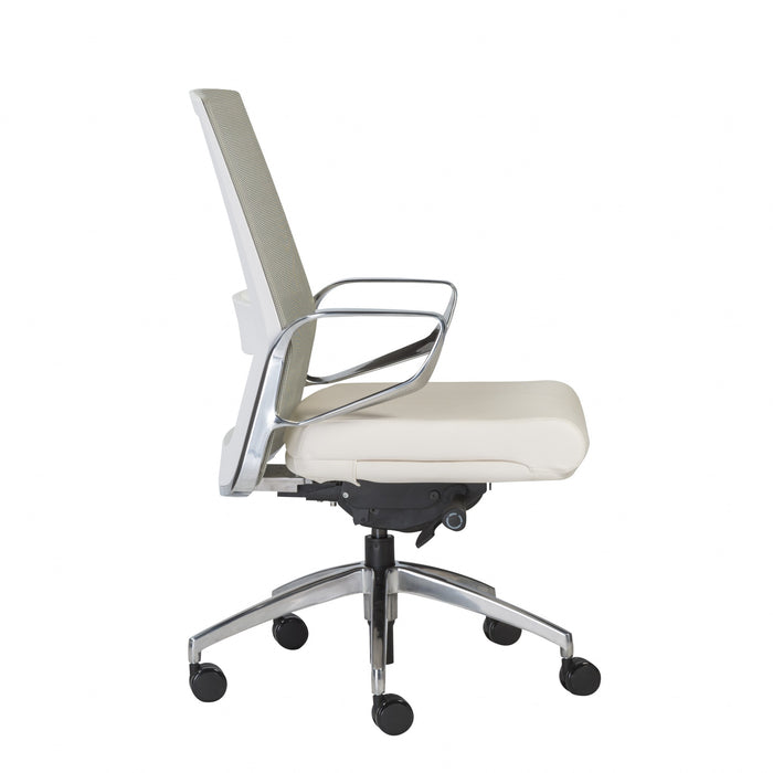 "HomeRoots Office 25.99"" X 24.81"" X 42.92"" Light Green Leatherette seat/Mesh Back Office Chair with Polished Aluminum Base"