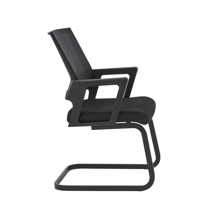 "HomeRoots Office 22.01"" X 22.52"" X 34.02"" Black Fabric/Mesh Visitor Chair"