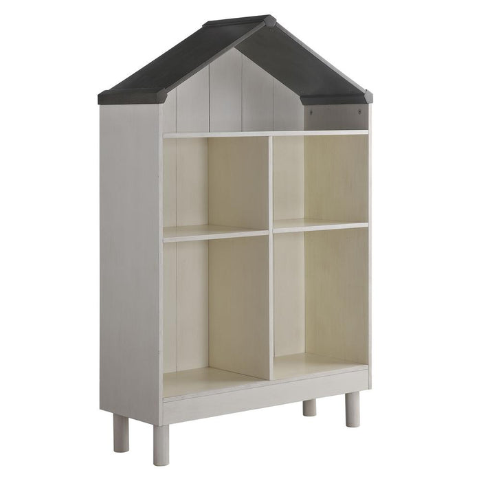 "HomeRoots Office 55.75"" x 12.99"" x 34.84"" Engineered Wood White and Gray  Hut Shape Wooden Bookcase with Five Spacious Shelves"