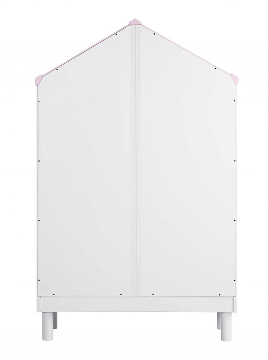 "HomeRoots Office 55.75"" x 12.99"" x 34.84"" Engineered Wood White and Pink  Hut Shape Wooden Bookcase with Five Spacious Shelves"