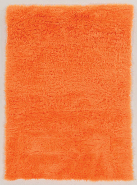 "HomeRoots 1"" x 36"" x 60"" Acrylic, Faux Leather and Latex Orange Rug with Suede Leather Backing"