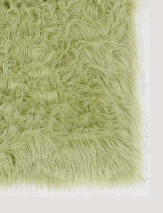 "HomeRoots 1"" x 20"" x 30"" Acrylic, Faux Leather and Latex Green Rug with Suede Leather Backing"