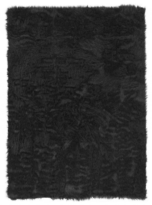 "HomeRoots 1"" x 20"" x 30"" Acrylic, Faux Leather and Latex Brown Rug with Suede Leather Backing"