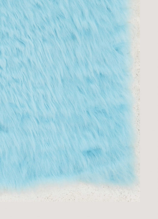 "HomeRoots 1"" x 20"" x 30"" Acrylic, Faux Leather and Latex Blue Rug with Suede Leather Backing"