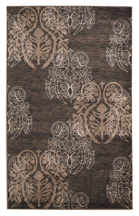 "HomeRoots 0.5"" x 23"" x 34"" Polypropylene and Latex Brown Polypropylene Power Loomed Rug"