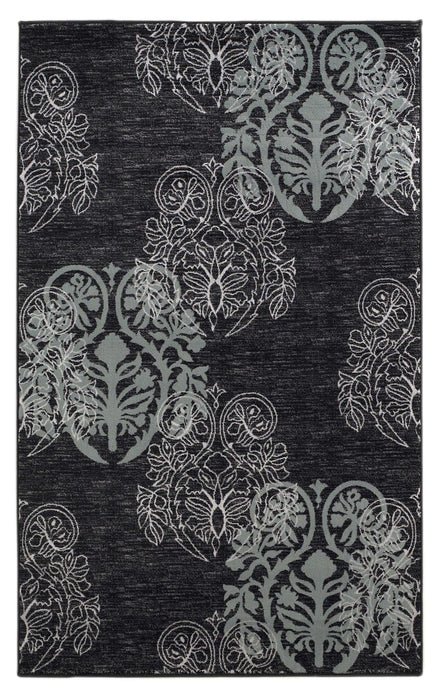 "HomeRoots 0.5"" x 23"" x 34"" Polypropylene and Latex Black and Blue Polypropylene Power Loomed Rug"