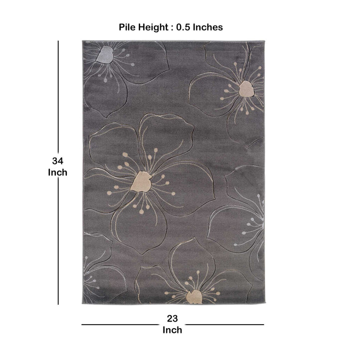 "HomeRoots 0.5"" x 23"" x 34"" Polypropylene and Latex Gray and Beige Power Loomed Rug"