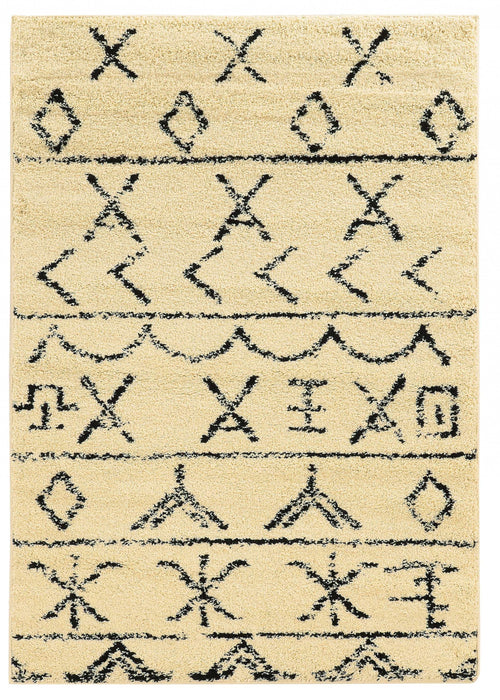 "HomeRoots 1"" x 36"" x 60"" Polypropylene and Latex Beige Power Loomed Rug"