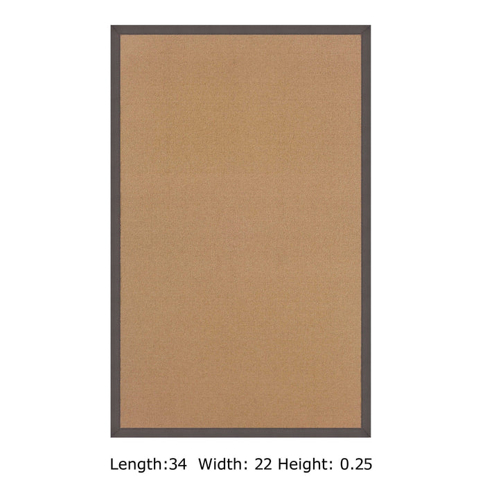 "HomeRoots 0.25"" x 22"" x 34"" Wool and Latex Brown and Gray Wool Rug"